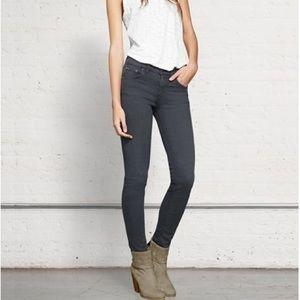 Rag & Bone Skinny Jeans In Distressed Charcoal